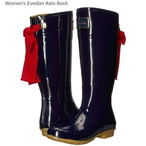 JOULES NAVY RAIN BOOTS WITH BACK RED BOW